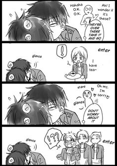 Pairing: Levi x Eren Author: ピエール // Translation: nurui Notes: 3 short comics in which levi is a horny ossan T/N: idk if this really needs explaining but on the second page eren was being… Ereri, Levihan, Attack On Titan Comic, Attack On Titan Ships, Cute Comics, Funny Comics, Levi Squad, Aot Cosplay, Eren E Levi