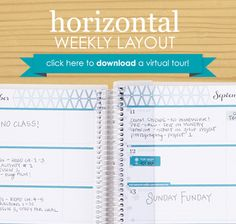 Check out the Horizontal Weekly Layout of the NEW 2015/16 #EClifeplanner #erincondren