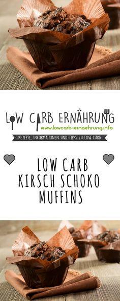 Low Carb Rezept für leckere Kirsch-Schoko-Muffins mit wenig Kohlenhydraten und ohne Zucker. Low Carb, zuckerfrei und einfach und schnell zum Nachbacken. Perfekt zum Abnehmen.