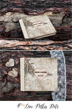 Wooden Birch Bark Guest Book engraved with your details #sponsored