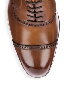 Bally Lamior Cap Toe Leather Dress Shoes - Caramel 11.5 D