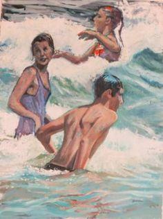 "Saatchi Art Artist Belinda Wilson; Painting, ""day in the surf"" #art"