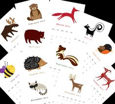 """2014 Calendar. Twelve (12) adorable forest animal illustrations, one for each month 5.5"""" x 8.5"""""""
