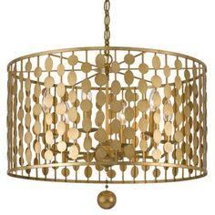 Crystorama Layla Chandelier-Antique Gold | Drum | Pendants | Lighting | Candelabra, Inc.