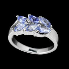 PRECIOUS NATURAL TOP BLUE VIOLET TANZANITE 6X3 MM MARQUISE CUT 925 SILVER RING #Handmade #Eternity