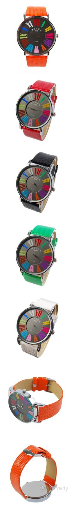 €7.50 Women's Vintage Round Dial PU Wrist Watch Colorful Analog Quartz Watch 5 Colors Selectable - BornPrettyStore.com