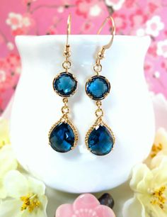 Montana blue glass chandelier gold bezel earrings by KBlossoms, $42.00