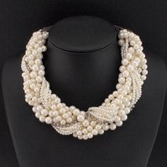 MANILAI Women Handmade Chunky Imitation Pearl Necklace Fashion Rhinestones Collar Chokers Necklaces Statement Jewelry Bijoux
