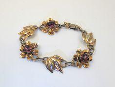 Art Deco Sterling Flower Bracelet Rose Gold by TonettesTreasures