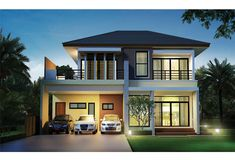 Design Concept For Tropical House Two Storey House Plans, 2 Storey House Design, Duplex House Plans, Dream Home Design, Home Design Plans, Modern House Design, Simple House Exterior, 4 Bedroom House Designs, Modern Floor Plans