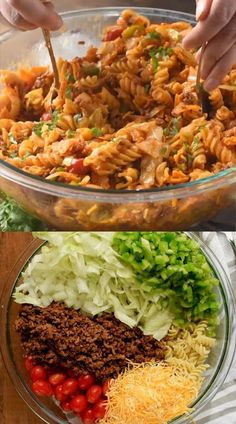 This Taco Pasta Salad is a family favorite! This pasta salad recipe is perfect for BBQs, potlucks and big family gatherings! It has a secret ingredient that stops everyone in their tracks! # Food and Drink meals families Taco Pasta Salad Mexican Food Recipes, Beef Recipes, Dinner Recipes, Cooking Recipes, Ethnic Recipes, Potluck Recipes, Potluck Appetizers, Potluck Ideas, Fondue Recipes