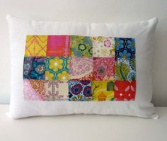 AMH Patchwork Pillow Cover on White Linen 12x16 by thestoryofkat, $35.00