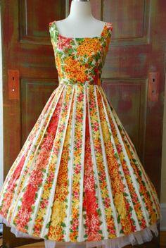 ISAAC MIZRAHI 50s style garden party full skirt dress floral print pleats FAB 12