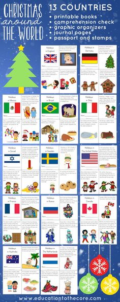 Christmas Around the World Unit. Complete with printable readers, passport and passport stamps, writing journal, graphic organizers! Great for all your Holidays Around the World Celebrations! around the world Holidays Around the World Christmas Activities, Christmas Traditions, Christmas Themes, Christmas Holidays, Activities For Kids, Christmas Facts For Kids, Advent Activities, Winter Holidays, Christmas Crafts