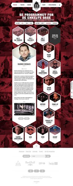 RedMountain - Ski Festival by Morten Lybech, via Behance  A different way of presenting a bio or about us page. The background are photos with a dark red filter. The boxes in white hexagons direct the eye in an usually way. For some this may be a bit confusing but if a website requires a lot of information meet the band or a bio page featuring actors or directors or a unique way to display art. -BLH