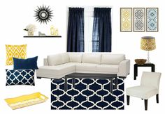 Blue and yellow living room decor - my design! Done with Olioboard.