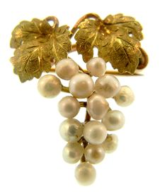 Antique Pearl And Gold Grape Cluster Brooch