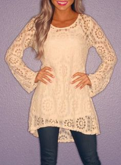 Stylish Scoop Neck Long Sleeve Crochet Lace Dress + Solid Color Tank Top Women's Twinset