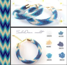 This lovely Bead Crochet Bracelet is made of Japanese seed beads of superior quality - Miyuki Crochet Bracelet Pattern, Crochet Beaded Bracelets, Bead Crochet Patterns, Bead Crochet Rope, Bead Loom Bracelets, Bracelet Patterns, Beading Patterns, Beaded Crochet, Beaded Jewelry