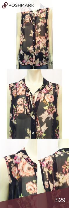 Nwot Express Print High Neck Floral Blouse S Small