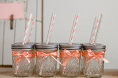 Little Bird Party ideas drink jars with ribbon