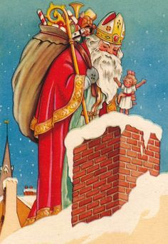 Nicholas delivers gifts for good children. Christmas In Holland, Christmas Past, Father Christmas, Christmas Crafts, Vintage Ephemera, Vintage Cards, Vintage Postcards, St Nicholas Day, Early Christian