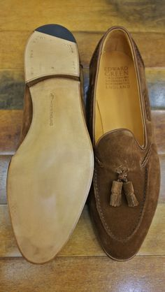 An Edward Green custom Belgravia tasseled loafer in coffee suede from Khaki's of Carmel.