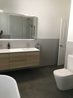 Double basin vanity and led medacine cabinet at our seddon bathroom reno Bathroom Renovations Melbourne, Bathroom Renos, Basin, Pergola, Vanity, Led, Cabinet, Mirror, Furniture