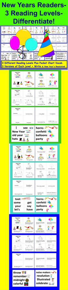 $3.25 New Years Emergent Readers - Mini Books  - 25 Page Download - 3 Different Reading Levels – Emergent Reader and 2 Harder-  3 versions of  each book- A page in each for a New Year's Resolution. 9 versions in all - Easy Assembly -Choices:  full color illustrations OR black and white  OR illustrate their own Pocket chart vocabulary cards included  (with illustrations when appropriate).  8 Pages Per Book (cover and 7 pages).