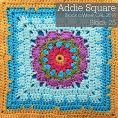 Addie Square Photo Tutorial - Look At What I Made: Block 25 - Block a Week CAL 2014 - with link to the free square pattern by Melissa Green. Crochet Squares Afghan, Granny Square Crochet Pattern, Crochet Blocks, Afghan Crochet Patterns, Crochet Granny, Crochet Motif, Crochet Yarn, Crochet Stitches, Knitting Patterns