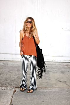Loose striped pants, tank top, fringe bag and birkenstocks #spring #summer #fashion