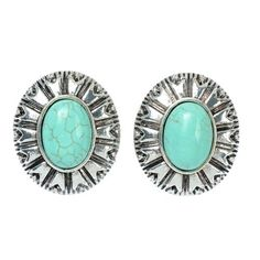 Ginasy Women Oval Turquoise Stud Earrings