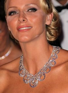 """""""Ocean"""" Tiara seen here worn as a necklace on HSH Princess Charlene of Monaco. By Van Cleef and Arpels. A gift from Prince Albert to his wife Princess Charlene."""