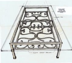 Wrought Iron Coffee Table Sketch - See more at: http://chambersarchitects.com/cutting-horse-ranch-in-parker-county.html#sthash.pat0LhgQ.dpuf or take a look at more custom furniture at: http://chambersarchitects.com/blog/230-design-and-fabrication-of-a-table-and-a-bed-for-the-j-5-ranch-in-weatherford-texas.html