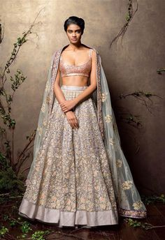 Sparkling Pastel Shaded Bridal Lehenga in Shyamal And Bhumika Bridal Wear Collection by Shyamal & Bhumika Indian Lehenga, Bridal Lehenga Choli, Red Lehenga, Anarkali, Wedding Dresses For Girls, Indian Wedding Outfits, Bridal Outfits, Indian Outfits, Indian Clothes