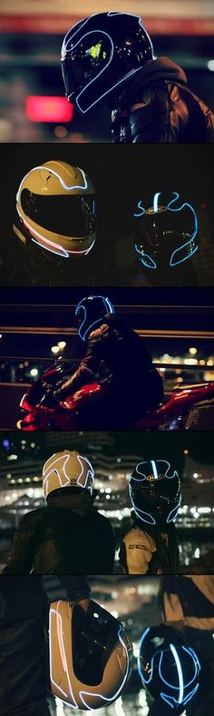 5 Images of a TRON-Inspired Motorcycle Helmet Designed to Keep Riders Safe. What TRON fan wouldn't want one of these? Motorcycle Helmet Design, Motorcycle Gear, Motorcycle Accessories, Motorcycle Quotes, Motorcycle Lights, Motorcycle Touring, Bike Helmets, Women Motorcycle, Bicycle Accessories