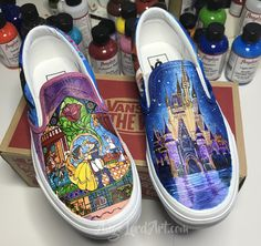 2b6fc9faa7fe Items similar to Custom Painted Disney Inspired Vans Converse Beauty   The  Beady shoes sneakers All sizes. on Etsy