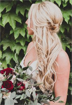 Dusty rose and burgundy wedding color ideas for fall white bridal gown, dusty rose bridesmaid dresses and wedding cake, paired with burgundy flower decorations and invitations. Look for more wedding inspiration! Half Up Wedding Hair, Wedding Braids, Wedding Hairstyles For Long Hair, Wedding Hair And Makeup, Pretty Hairstyles, Hair Makeup, Hippie Wedding Hair, Bridal Hairstyles, Eye Makeup
