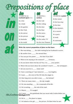 Prepositions of place - English ESL Worksheets English Grammar Exercises, English Grammar Rules, English Grammar Worksheets, Grammar And Vocabulary, Grammar Lessons, English Language Learning, English Vocabulary, English Prepositions, English Verbs