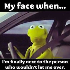 OH YEAH! Kermit the Frog Face Finally Next to the Person Who Wouldn't Let Me Over Driving ---- best hilarious jokes funny pictures walmart humor fail Funny Shit, Haha Funny, Funny Jokes, Funny Stuff, Funny Things, Siri Funny, 21 Things, Hilarious Work Memes, Funny Kermit Memes