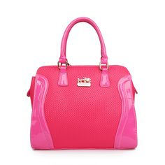 Coach Logo Medium Fuchsia Totes AWE Is Competitive In Price To Win More Customers!
