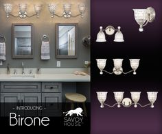 New from Savoy House, the Birone bath lighting line makes the bathroom sparkle with faceted glass shades, glittering crystal finials and a polished nickel finish.