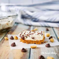 Rich, creamy, low carb, chocolate chip cheesecake on a peanut buttery crust! Perfect for THM & keto, make with almond flour or THM Baking Blend. Chocolate Chip Cheesecake Bars, Chocolate Hazelnut Cake, Healthy Cheesecake, Low Carb Chocolate, Homemade Chocolate, Chocolate Recipes, Cheesecake Recipes, Peanut Butter Crust Recipe, Peanut Butter Chips