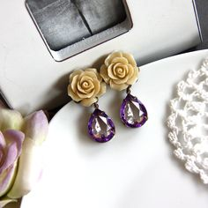 Latte Sweetness - A Latte Rose Flower and Vintage Pear Two Tone Purple Glass Jewels Earrings.  Maid of Honor Gifts. Purple Wedding.. $22.90, via Etsy.