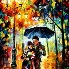 "Warm Night — PALETTE KNIFE Figure Oil Painting On Canvas By Leonid Afremov - Size: 30"" x 40"""