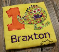 Monsters, ahh! Choose the colors and fabrics to customize this shirt for your little monster.