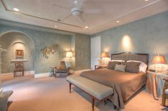 American Clay earth plaster in a beautiful bedroom