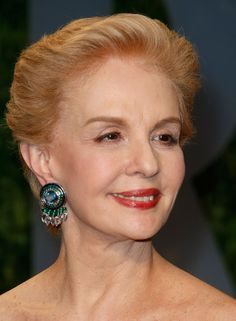 Carolina Herrera dons fancy crystal earrings during the Vanity Fair Oscar party.