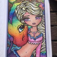 Artist: Hannah Lynn Colourist: Rebecca Edwards #enchantedfaces #hannahlynn #hannahlynnart #colouring #coloring #adultcolouring #adultcolouring #coloringbookforadults #spectrumnoir #zigcleancolour #whimsy #whimsical #gelpens #prismacolor #prismacolorpencils #polychromospencils #polychromos #pencils #art #colourist #derwentcoloursoftpencils #dragon #kelisi #keleesi #dany #danerys #rainbow #sashaandjet #mermaid #fantasy #followforfollow
