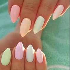 Easy Spring Nails & Spring Nail Art Designs To Try In Pastel Spring Nails. Simple spring nails colors for acrylic nails, gel nails and shellac spring nails. These easy Spring nail art ideas with pastel colors are a must try. Hair And Nails, My Nails, Polish Nails, Fall Nails, Summer Gel Nails, Acrylic Summer Nails Almond, Nails Summer Colors, Summer Holiday Nails, Short Nails Shellac